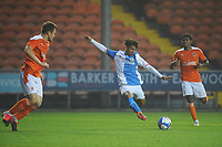 Blackburn Rovers' Tyrhys Dolan under pressure from Blackpool's Jordan Thorniley<br /> <br /> Photographer Kevin Barnes/CameraSport<br /> <br /> Football Pre-Season Friendly - Blackpool v Blackburn Rovers - Tuesday 25th August 2020 - Bloomfield Road - Blackpool<br /> <br /> World Copyright © 2020 CameraSport. All rights reserved. 43 Linden Ave. Countesthorpe. Leicester. England. LE8 5PG - Tel: +44 (0) 116 277 4147 - admin@camerasport.com - www.camerasport.com