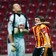 Galatasaray's Juan Emmanuel CULIO (L) celebrate his goal with team mate during their Turkish Super League soccer match Galatasaray between Konyaspor at the T T Arena at Seyrantepe in Istanbul Turkey on Sunday, 20 May 2011. Photo by TURKPIX