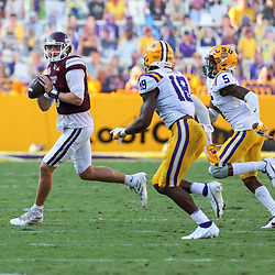 Sep 26, 2020; Baton Rouge, Louisiana, USA; Mississippi State Bulldogs quarterback K.J. Costello (3) throws against the LSU Tigers during the second half at Tiger Stadium. Mandatory Credit: Derick E. Hingle-USA TODAY Sports
