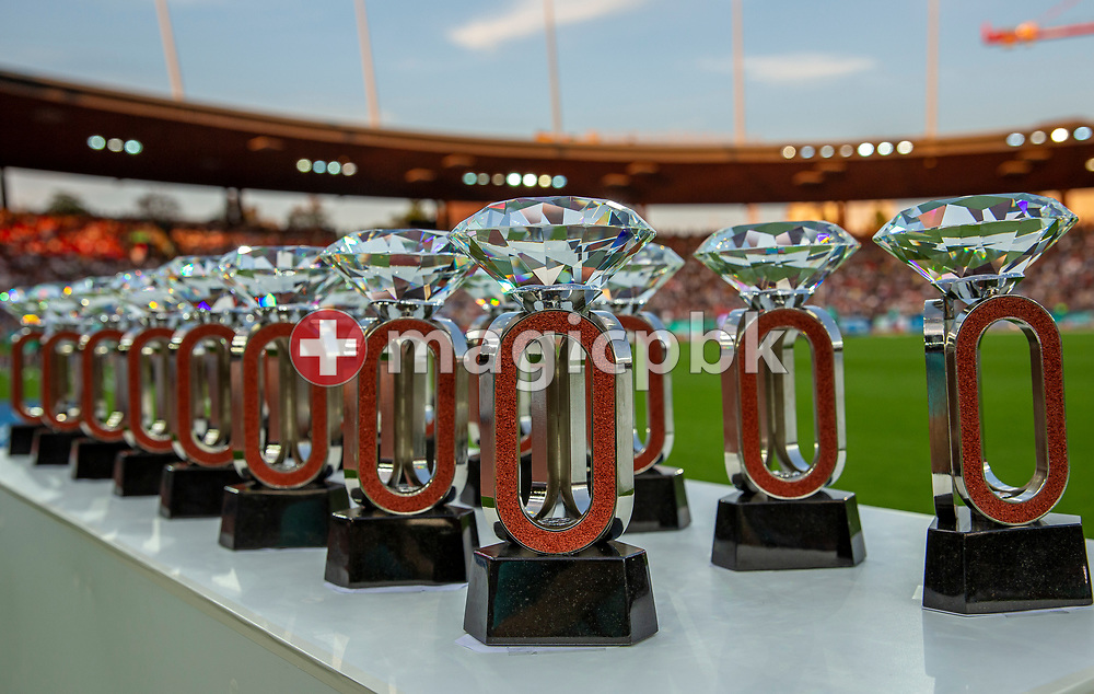 Trophies are pictured during the Iaaf Diamond League meeting (Weltklasse Zuerich) at the Letzigrund Stadium in Zurich, Switzerland, Thursday, Aug. 29, 2019. (Photo by Patrick B. Kraemer / MAGICPBK)