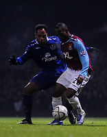 Photo: Tony Oudot/Sportsbeat Images.<br /> West Ham United v Everton. Carling Cup. 12/12/2007.<br /> Kyel Reid of West Ham shields the ball from Joleon Lescott of Everton