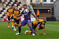 Tranmere Rover's Kaiyne Woolery in action during the EFL Sky Bet League 2 match between Newport County and Tranmere Rovers at Rodney Parade, Newport, Wales on 17 October 2020.