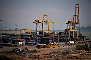 Cranes and ontainers in the port authority of Danang, Vietnam, Asia