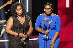 August 6, 2017 - New Jersey, U.S - Recipients, of the Community Change award, DERICA WILSON, and NATALIE WILSON, at the 2017 Black Girls Rock awards show. Black Girls Rock 2017 was held at the New Jersey Performing Arts Center in Newark New Jersey. (Credit Image: © Ricky Fitchett via ZUMA Wire)