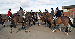 © Licensed to London News Pictures. 10/03/2012..Cleveland, England..The Cleveland Hunt prepares to leave Thrushwood Farm on Teesside at the start of the hunt...Photo credit : Ian Forsyth/LNP