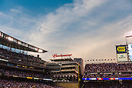 A ganeral view of Target Field during sunset during a game between the Cleveland Indians and the Minnesota Twins in Minneapolis, Minnesota on July 19, 2011.