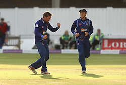 Gloucestershire's Tom Smith celebrates the wicket of Azhar Mahmood of Surrey CCC - Mandatory byline: Robbie Stephenson/JMP - 07966 386802 - 19/09/2015 - Cricket - Lord's Cricket Ground - London, England - Gloucestershire CCC v Surrey CCC - Royal London One-Day Cup Final