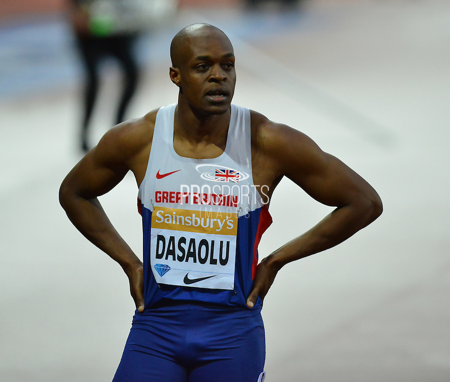 James Dasaolu of Great Britain following heat B of the mens 100m at the Sainsbury's Anniversary Games at the Queen Elizabeth II Olympic Park, London, United Kingdom on 24 July 2015. Photo by Mark Davies.