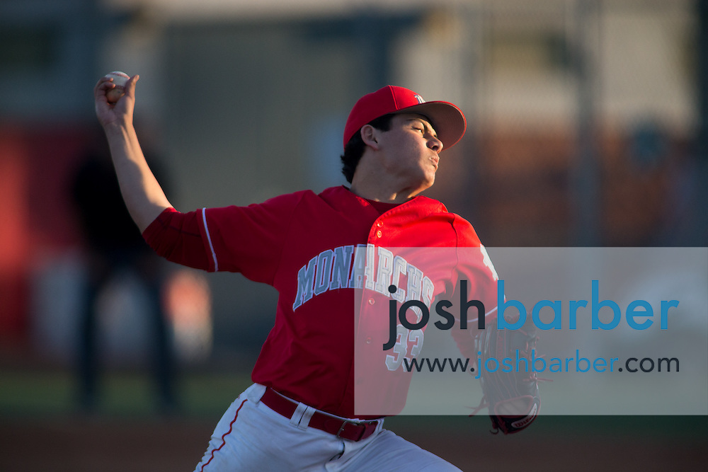 Mater Dei's Ben Kane (33) pitching during a Trinity League game at Mater Dei High School on Friday, May 1, 2015 in Santa Ana, Calif. (Photo/Josh Barber)