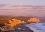 Rising Full Moon at Sunset,Drakes Beach,Point Reyes National Seashore, California