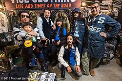 Shinsuke Takizawa of Neighborhood with friends from Vise clothing at the Annual Mooneyes Yokohama Hot Rod and Custom Show. Japan. Sunday, December 7, 2014. Photograph ©2014 Michael Lichter.