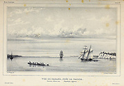Ships in the Parana river, near La Bajada. Province of Entre-rios. Argentine Republic. [Vue du Parana, près la Bajada. Province d'Entre-rios. République Argentine.] Hand sketched landscape From the book 'Voyage dans l'Amérique Méridionale' [Journey to South America: (Brazil, the eastern republic of Uruguay, the Argentine Republic, Patagonia, the republic of Chile, the republic of Bolivia, the republic of Peru), executed during the years 1826 - 1833] 3rd volume By: Orbigny, Alcide Dessalines d', d'Orbigny, 1802-1857; Montagne, Jean François Camille, 1784-1866; Martius, Karl Friedrich Philipp von, 1794-1868 Published Paris :Chez Pitois-Levrault et c.e ... ;1835-1847