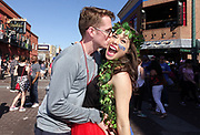 Trey Stafford and his girlfriend Kaitlyn McKay party on Beale Street during Memphis in May activities. Photo by Karen Pulfer Focht ©