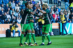 (L-R) Jean-Paul Boetius of Feyenoord, Steven Berghuis of Feyenoord, Tonny Vilhena of Feyenoord during the Dutch Eredivisie match between Heracles Almelo and Feyenoord Rotterdam at Polman stadium on September 09, 2017 in Almelo, The Netherlands