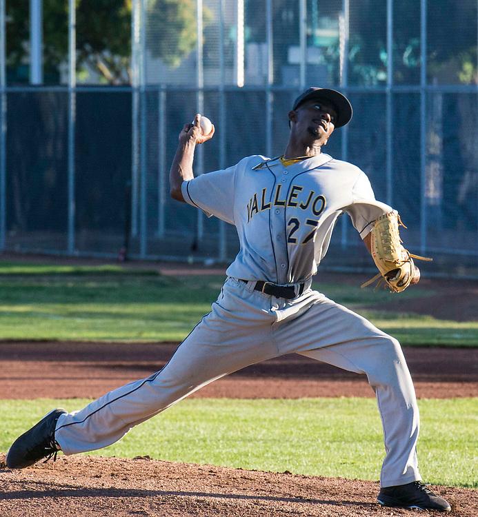 Jun 17, 2017 Vallejo, CA : Pitcher # 27 Marquis Hutchinson during the baseball game between Pittsburg Diamonds vs Vallejo Admirals at Pittsburg Diamond Pittsburg, CA. Thurman James / TJP
