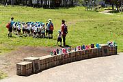 Japanese school children on an playground enterntainment trip