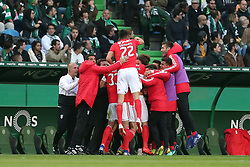 February 3, 2019 - Lisbon, Portugal - Benfica's Suisse forward Haris Seferovic celebrates with teammates after scoring during the Portuguese League football match Sporting CP vs SL Benfica at Alvalade stadium in Lisbon, Portugal on February 3, 2019. (Credit Image: © Pedro Fiuza/NurPhoto via ZUMA Press)