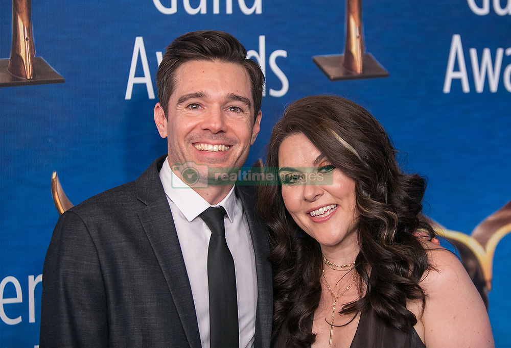 February 17, 2019 - Beverly Hills, California, U.S - Ozzy Inguanzo and Dava Whisenant ''Bathtubs Over Broadway'' in the red carpet of the 2019 Writers Guild Awards at the Beverly Hilton Hotel on Sunday February 17, 2019 in Beverly Hills, California. ARIANA RUIZ/PI (Credit Image: © Prensa Internacional via ZUMA Wire)