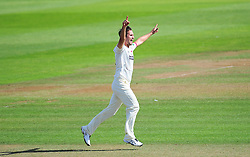 Lewis Gregory of Somerset celebrates the wicket of Jimmy Adams.  - Mandatory by-line: Alex Davidson/JMP - 23/08/2016 - CRICKET - Cooper Associates County Ground - Taunton, United Kingdom - Somerset v Hampshire - Specsavers County Championship Division One