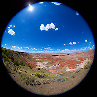 As if looking thru a porthole on a ship, a pearl view of the magnificent painted desert in the Petrified Forest National Park