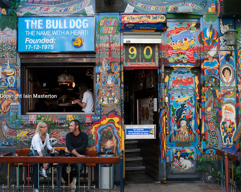 Exterior of famous Bulldog coffeeshop in red light district of Amsterdam in The Netherlands