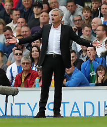 Manchester United manager Jose Mourinho gestures on the touchline during the Premier League match at the AMEX Stadium, Brighton.