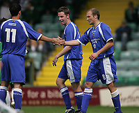 Photo: Lee Earle.<br /> Yeovil Town v Cardiff City. Pre Season Friendly. 21/07/2007.Cardiff's Warren Feeney (R) is congratulated after scoring their opening goal.