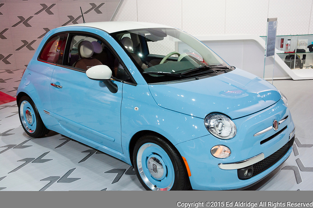 DETROIT, MI, USA - JANUARY 12, 2015: Fiat 500 on display during the 2015 Detroit International Auto Show at the COBO Center in downtown Detroit.