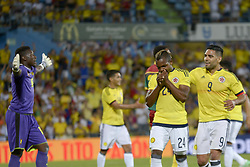 June 13, 2017 - Getafe, Spain - José Izquierdo of the Colombia team celebrates the goal with his teammates against Cameroon, a friendly match played at the Coliseum Alfonso Pérez stadium in Getafe, Tuesday, June 13, 2017. (Credit Image: © Luis Salgado/NurPhoto via ZUMA Press)