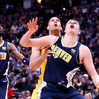 09 March 2018: Denver Nuggets center Nikola Jokic (15) vies for the rebound with Los Angeles Lakers center Brook Lopez (11) during the Denver Nuggets125-116 victory over the Los Angeles Lakers, at the Pepsi Center, Denver, Colorado, USA.