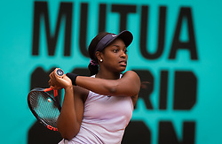 May 8, 2019 - Madrid, MADRID, SPAIN - Sloane Stephens of the United States in action during her third-round match at the 2019 Mutua Madrid Open WTA Premier Mandatory tennis tournament (Credit Image: © AFP7 via ZUMA Wire)