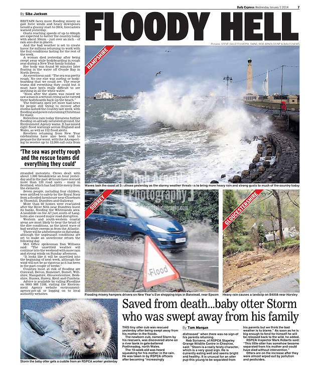 A wave crashing into the promenade at Southsea, Hampshire, UK