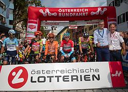 12.07.2019, Kitzbühel, AUT, Ö-Tour, Österreich Radrundfahrt, 6. Etappe, von Kitzbühel nach Kitzbüheler Horn (116,7 km), im Bild v.l. Jonas Koch (GER, CCC Team), Riccardo Zoidl (AUT, CCC Team), Ben Hermans (BEL, Israel Cycling Academy), Georg Zimmermann (GER, Tirol KTM Cycling Team), Bgm Kitzbühel Klaus Winkler, Franz Steinberger (Ö-Tour Direktor) // f.l. Jonas Koch of Germany (CCC Team) Riccardo Zoidl of Austria (CCC Team) Ben Hermans of Belgium Team Israel Cycling Academy Georg Zimmermann of Germany (Tirol KTM Cycling Team) Major of Kitzbühel Klaus Winkler Franz Steinberger director Tour of Austria during 6th stage from Kitzbühel to Kitzbüheler Horn (116,7 km) of the 2019 Tour of Austria. Kitzbühel, Austria on 2019/07/12. EXPA Pictures © 2019, PhotoCredit: EXPA/ Reinhard Eisenbauer