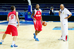 Asen Velikov, Earl Rowland and Head coach Rosen Barchovski at practice session of Bularian National basketball team 1 day before Eurobasket Lithuania 2011, on August 29, 2011, in Arena Svyturio, Klaipeda, Lithuania. (Photo by Vid Ponikvar / Sportida)