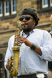 Pictured: Soul Brass Band<br /> New Orleans traditional brass band Soul Brass Band enjoyed the fresh air outside the festival's newest flagship venue, the Assembly Hall. Assembly Hall, Mound Place<br /> <br /> Ger Harley   EEm 13 July 2018