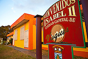 Sign welcoming visitors to Isabel Segunda town on Vieques Island, Puerto Rico.
