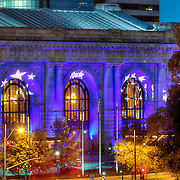 Kansas City's Union Station in Royal Blue lighting for Royals Baseball's 2015 MLB World Series run.