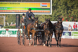 IJsbrand Chardon, (NED), Bravour, Danbrozie, Don Marcell, Winston E, Zepp - Driving dressage - Alltech FEI World Equestrian Games™ 2014 - Normandy, France.<br /> © Hippo Foto Team - Dirk Caremans<br /> 04/09/14