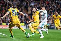 Real Madrid Lucas Vazquez and Juventus Stephan Lichtsteiner and Giorgio Chiellini  during Champion League match between Real Madrid and Juventus at Santiago Bernabeu Stadium in Madrid, Spain. April 11, 2018. (ALTERPHOTOS/Borja B.Hojas)