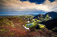 Volcanic craters in Rauðibotn, northeast of the Mýrdalsjökull ice cap, a part of the Katla volcanic system