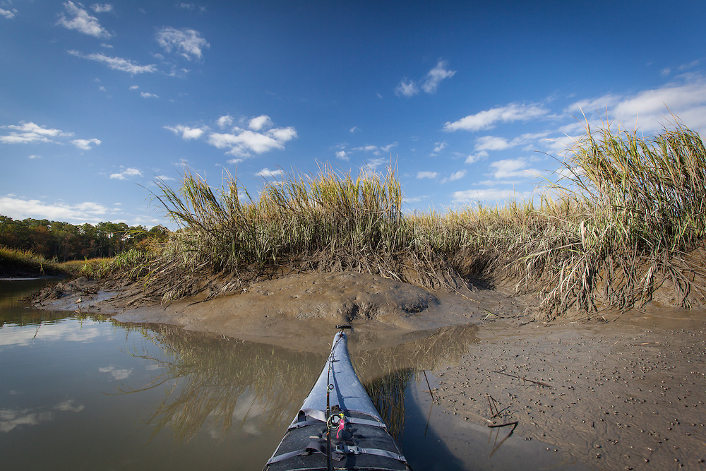 A kayak bow with fishing rod sits in the mud of a marsh creek of the May River.