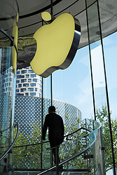 View of large modern Apple store in Shahghai China