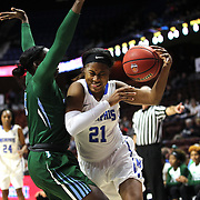 Arianna Fuqua-Bey, Memphis, drives to the basket defended by Tierra Jones, Tulane, during the Tulane Green Wave Vs Memphis Tigers Quarter Final match at the  2016 American Athletic Conference Championships. Mohegan Sun Arena, Uncasville, Connecticut, USA. 5th March 2016. Photo Tim Clayton