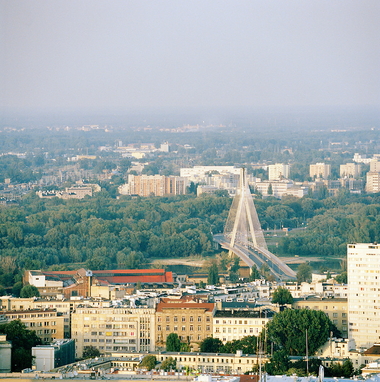 City view including the Slasko-Dabrowski Bridge seen from the Palace of Arts and Culture, Warsaw, Poland