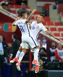 Chile's Eduardo Vargas (left) celebrates scoring his side's second goal with team-mate Leonardo Valencia