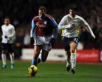 John Carew<br /> Aston Villa 2009/10<br /> Vedran Corluka Tottenham Hotspur<br /> Aston Villa V Tottenham Hotspur (1-1) 28/11/09<br /> The Premier League<br /> Photo Robin Parker Fotosports International