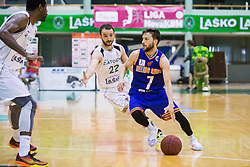 Jan Mocnik of KK Helios Suns and Daniel Vujasinovic of KK Zlatorog during basketball match between KK Zlatorog and KK Helios Suns in 1st match of Nova KBM Slovenian Champions League Final 2015/16 on May 29, 2016  in Dvorana Zlatorog, Lasko, Slovenia.  Photo by Ziga Zupan / Sportida