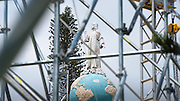 A statue of Jesus is surrounded by scaffolding at Plaza Salvador del Mundo (Savior of the World) as El Salvador prepares for the beatification ceremony and mass announcing the beatification of Archbishop Oscar Romero. The Archbishop was slain at the alter of his Church of the Divine Providence by a right wing gunman in 1980. Oscar Arnulfo Romero y Galdamez became the fourth Archbishop of San Salvador, succeeding Luis Chavez, and spoke out against poverty, social injustice, assassinations and torture. Romero was assassinated while offering Mass on March 24, 1980.