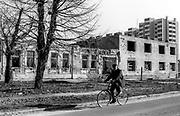 Bombed building and land mines,  Sarajevo, 1998