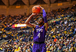 Jan 14, 2020; Morgantown, West Virginia, USA; TCU Horned Frogs guard PJ Fuller (4) shoots a three pointer during the first half against the West Virginia Mountaineers at WVU Coliseum. Mandatory Credit: Ben Queen-USA TODAY Sports